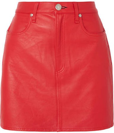 Moss Leather Mini Skirt - Red