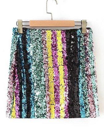 Block Striped Sequin Skirt