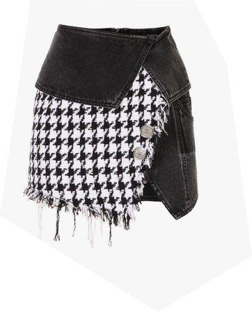 checkered denim skirt