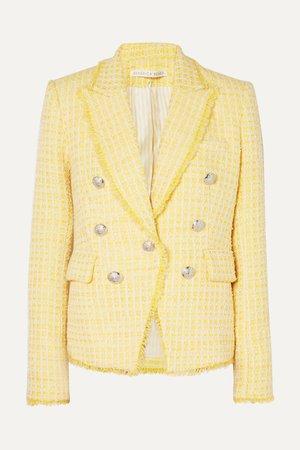 Yellow Dickey double-breasted checked bouclé-tweed blazer | Veronica Beard | NET-A-PORTER