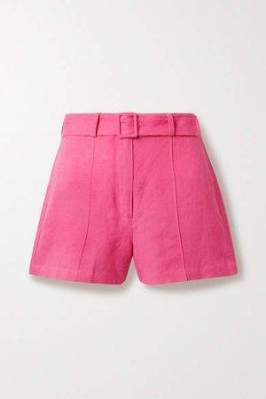 Linen-blend Shorts - Pink