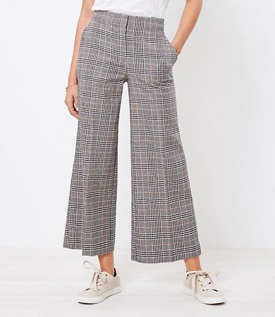 The Curvy High Waist Wide Leg Crop Pant in Plaid