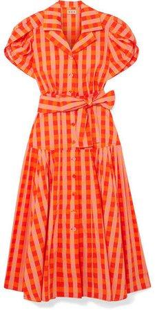 LHD - Château Gingham Stretch-cotton Broadcloth Midi Dress - Orange