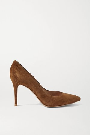 Brown 85 suede pumps | Gianvito Rossi | NET-A-PORTER