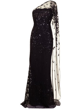 Zuhair Murad tulle embellished fishtail gown black DRF21015 - Farfetch