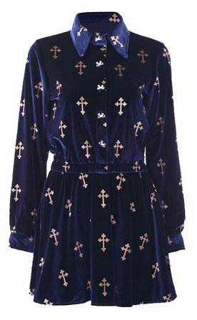 Navy Lapel Long Sleeve Cross Print Bow Velvet Dress