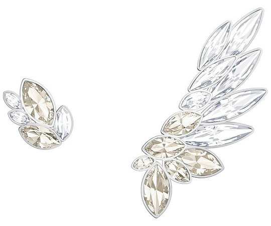 Swarovski LAKE PIERCED EARRING AND EAR CUFF, GRAY, RHODIUM PLATING