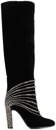 thigh high embellished boots