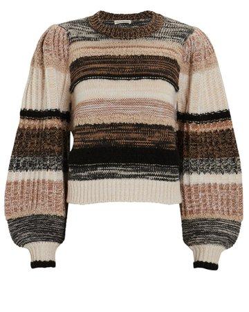 Ulla Johnson Samara Striped Blouson Sleeve Sweater | INTERMIX®
