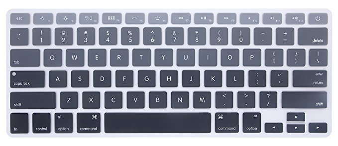 "HRH Gradient Gray Keyboard Cover Silicone Skin for MacBook Air 13 and MacBook Pro 13"" 15"" 17"" (with or w/out Retina,Not Fit 2016 Macbook Pro 13 15 with/without Touch Bar) US Layout"