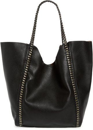 Chain Faux Leather Tote
