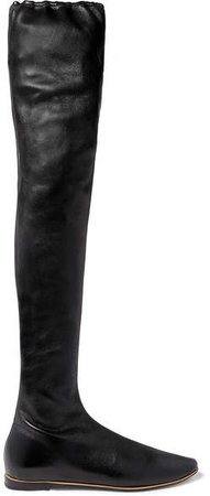 Leather Over-the-knee Boots - Black
