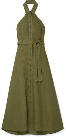 Rosemary Tencel And Linen-blend Halterneck Maxi Dress - Army green