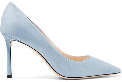 Romy 85 Suede Pumps - Sky blue
