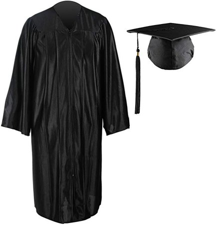 Amazon.com: RobeStore Shiny Graduation Gown Cap Tassel Set No Charm for High School and College Ceremony (54, Black): Clothing