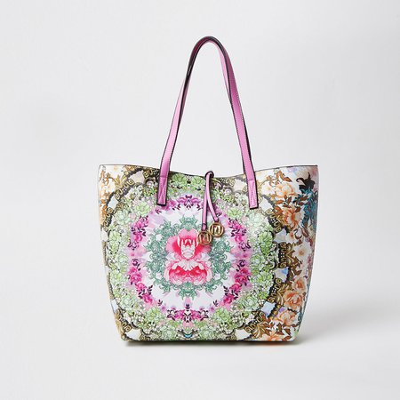 Pink print shopper tote bag | River Island