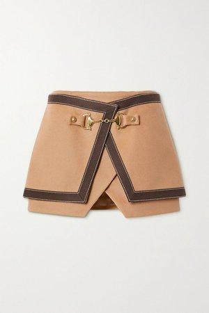 Camel Layered cotton-trimmed wool and cashmere-blend mini skirt | Balmain | NET-A-PORTER