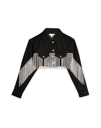 Topshop Crystal Fringe Black Denim Hacked Off Jacket - Denim Jacket - Women Topshop Denim Jackets online on YOOX United States - 42789439CW