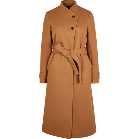 Brown belted wrap coat   River Island
