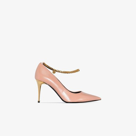 Pink 85 metallic chain leather pumps