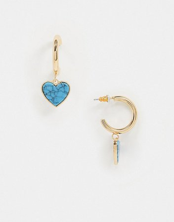 ASOS DESIGN hoop earrings with semi-precious turquoise heart charm in gold tone | ASOS
