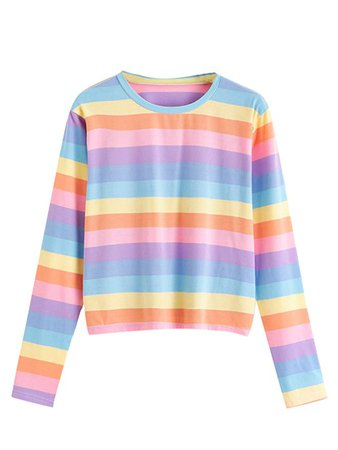 SweatyRocks Women's Casual Round Neck Long Sleeve Rainbow Striped T Shirt Top Multicoloured L at Amazon Women's Clothing store