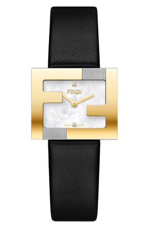Fendi Fendimania Diamond Leather Strap Watch, 24mm x 20mm | Nordstrom