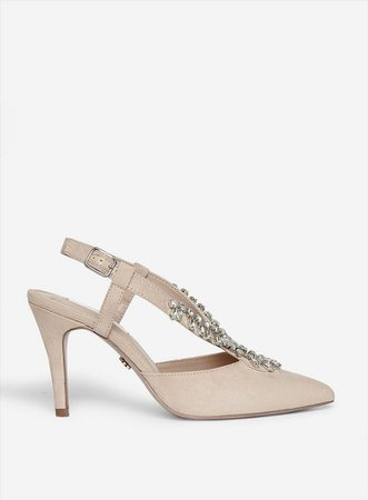 Wide Fit Nude 'Gemini' Slingback Court Shoes | Dorothy Perkins