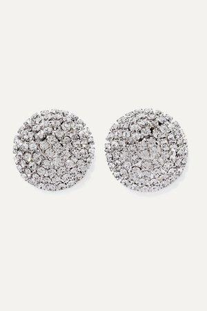 Alessandra Rich | Oversized silver-tone crystal earrings | NET-A-PORTER.COM