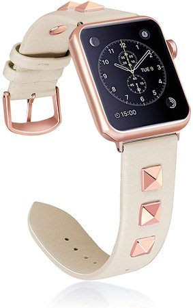 Amazon.com: WHLIHUSU Leather Studded Band Compatible with Apple Watch Band 38mm 40mm 42mm 44mm S/M M/L, Genuine Leather Bling Dressy Designer Replacement Strap Compatible with Watch Band Series 5 4 3 2 1: Clothing