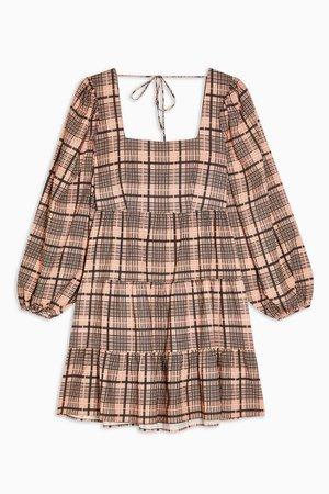 Blush Pink Textured Check Mini Dress | Topshop