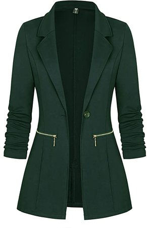 Genhoo Women's Long Sleeve Blazer Open Front Cardigan Jacket Work Office Blazer with Zipper Pockets (L, 1 Navy Blue) at Amazon Women's Clothing store