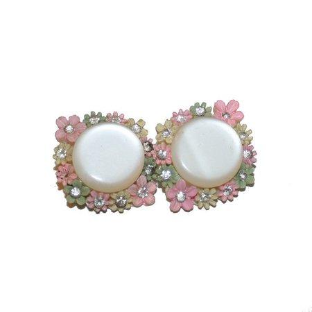 Vintage Fancy Floral Earrings vintage 50s plastic celluloid | Etsy