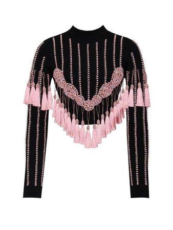 Iris Pink Tassel Detail Long Sleeve Crop Top