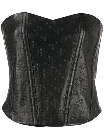 Saks Potts Logo Embossed Leather Corset - Farfetch