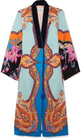 Printed Satin Coat - Blue