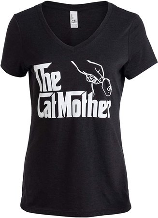 Amazon.com: The Catmother   Funny, Cute Cat Mother Mom Owner Pet Kitty Kitten Women V-Neck T-Shirt-(Vneck,3XL) Vintage Black: Clothing