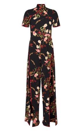 Black Thigh Split Oriental Jumpsuit   PrettyLittleThing USA