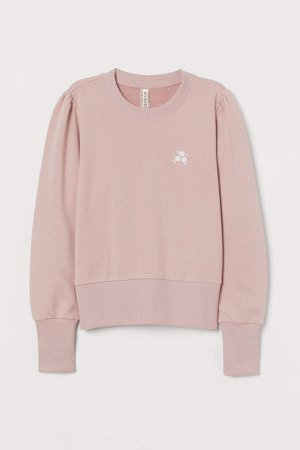 Puff-sleeved Sweatshirt - Pink