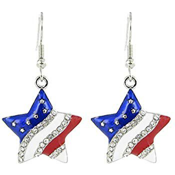 Amazon.com: American Flag Patriotic Star Rhinestone Fish Hook Earrings - Clear Crystal with Red White and Blue Enamel: Jewelry