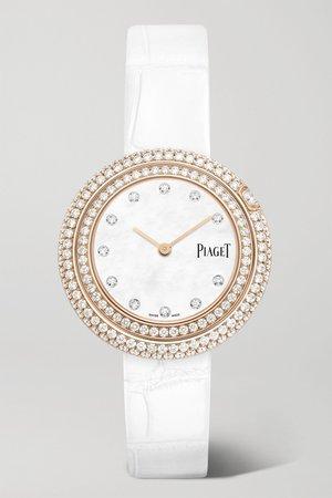 Rose gold Possession 29mm 18-karat rose gold, alligator and diamond watch   Piaget   NET-A-PORTER