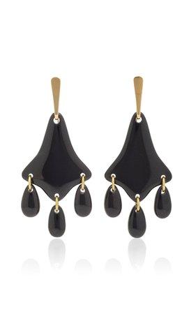 Lisa Eisner Wyoming Black Jade Three Directions Earrings