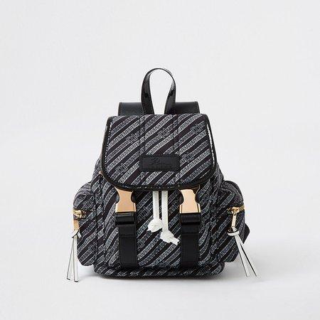 Black RI chai print backpack | River Island