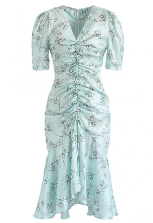 Flounced Hem Drawstring Floral Dress in Mint - NEW ARRIVALS - Retro, Indie and Unique Fashion