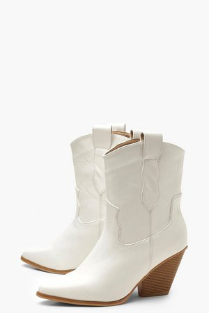 Pull On Pointed Western Boots | Boohoo