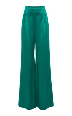Cushnie High-Rise Wide-Leg Silk Trousers