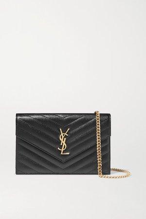 Monogramme Quilted Textured-leather Shoulder Bag - Black