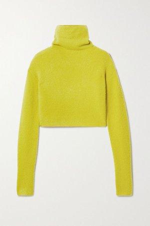 Chartreuse Cropped bouclé turtleneck sweater   LAPOINTE   NET-A-PORTER