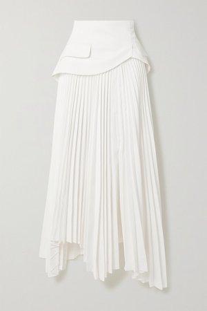 Asymmetric Layered Pleated Twill Skirt - White