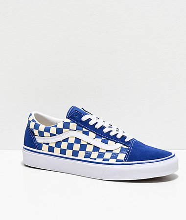Vans Old Skool Blue & White Checkered Skate Shoes | Zumiez